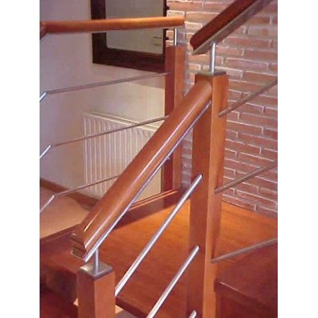 Jos berriales barandillas madera acero inoxidable for Barandillas de madera para interior